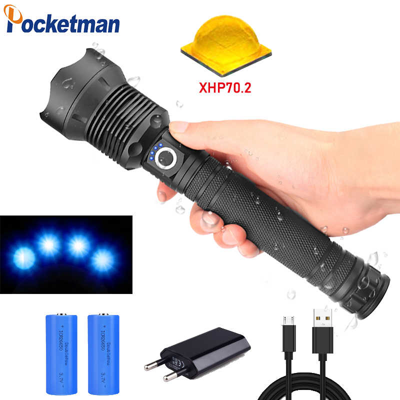 65000 lumens Lamp xhp70.2 most powerful flashlight usb Zoom led torch xhp70 xhp50 18650  26650 battery Best Camping Outdoor 90