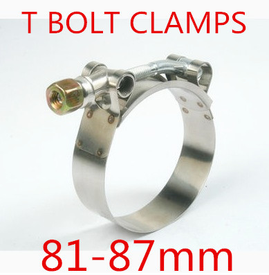 6pcs/lot 81-87mm T BOLT CLAMPS Turbo Pipe Hose Coupler Stainless Steel