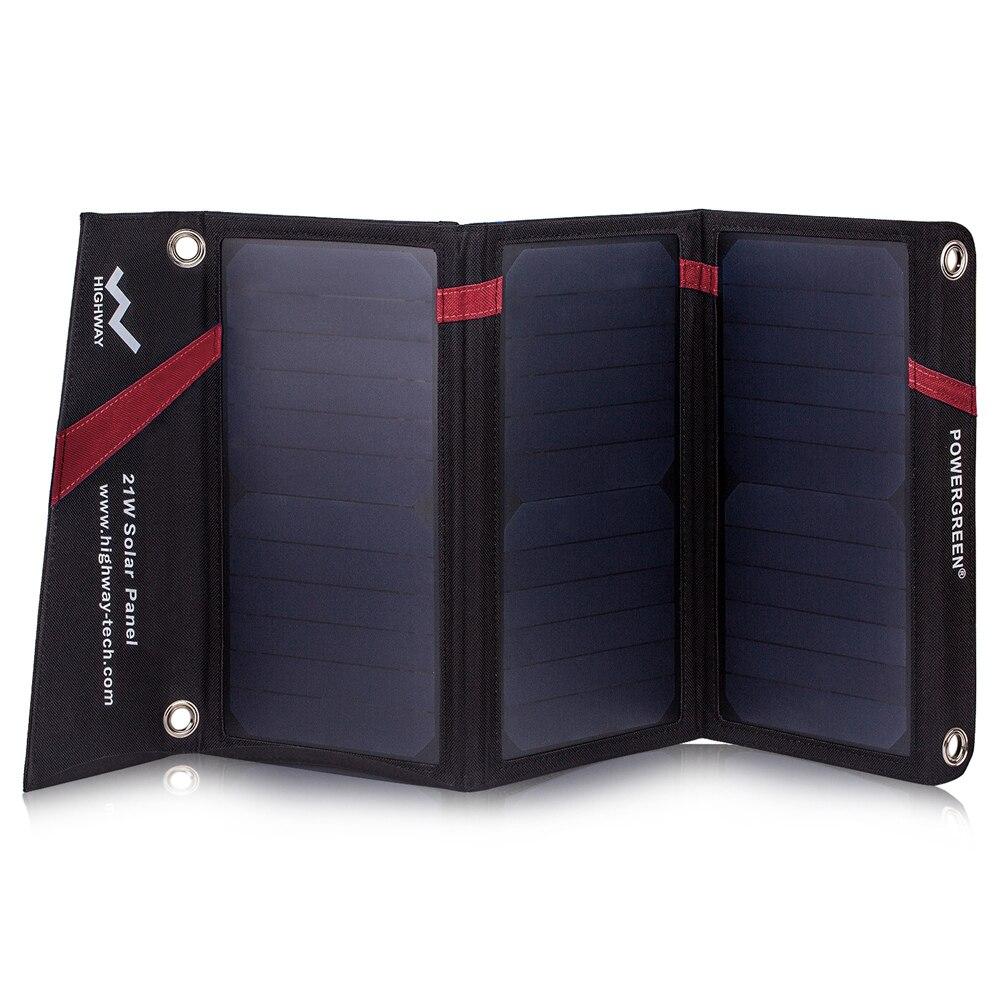 PowerGreen Solar Mobiele Lader 21 Watt Opvouwbare Zonnepaneel Power Bank Externe Batterij voor Xiaomi voor LG Telefoons (Rood) - 6