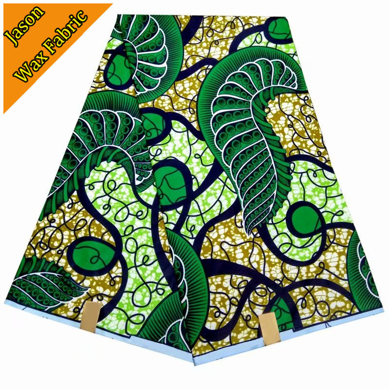 Green color African super wax prints fabric veritable real wax cloth 100% polyester 6yards/lot for dress LBL
