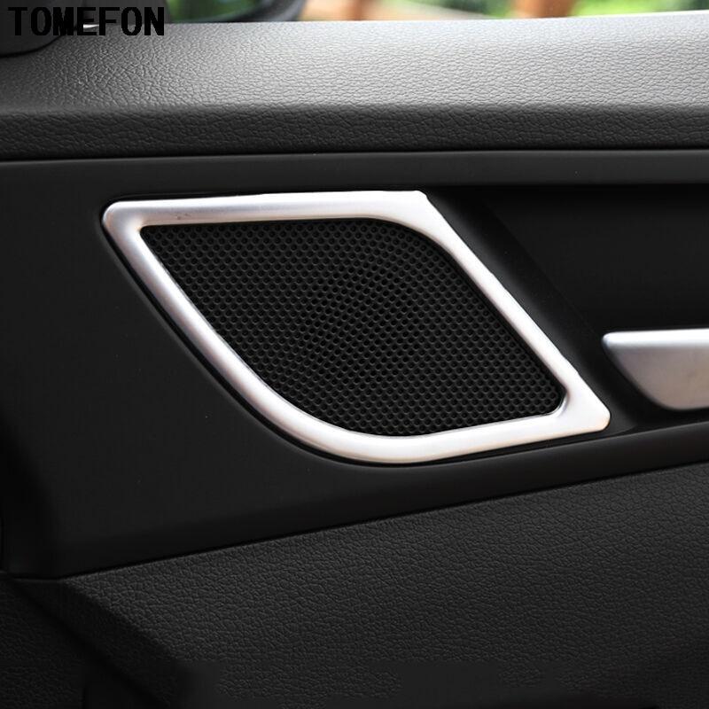 Qwldmj Para Hyundai Tucson Accesorios 2015 2016 2017 2018 2019 Acero Inoxidable Puerta Delantera Arriba Cubierta de Altavoz embellecedor Estilo de Coche