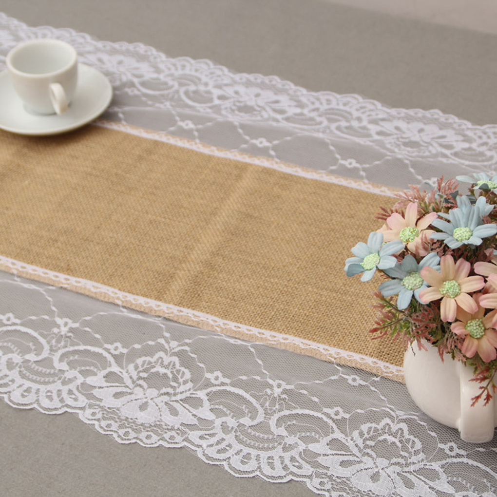 European Style Lace on both sides Burlap Lace Hessian Table Runner Linen Tablecloth for Wedding Party