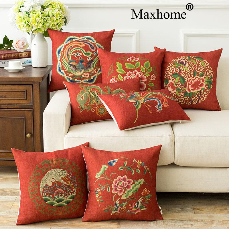 New Chinese Red Cotton Linen Pillowcase Wedding Gift