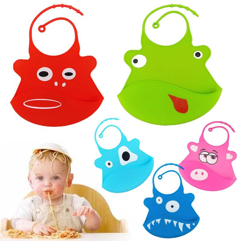 Cartoon Baby Kids Bib Washable Waterproof Silicone Feeding Accessory Cute