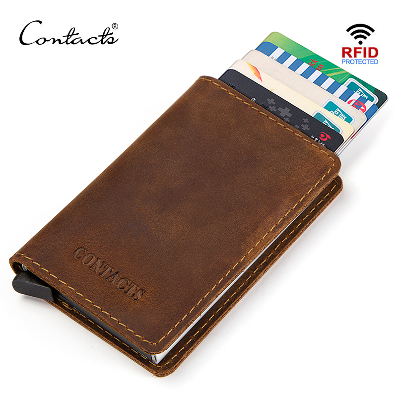 CONTACT'S Vintage Genuine Leather Aluminum RFID Men Business ID Card Holder Thin Pop Up Slim Card Case Wallet Male Coin Purse
