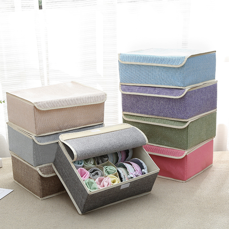 Cotton Line Drawer Organizers 13 Grid Folding Cotton Line Bra Socks Underwear Storage Box With Cover Clothing Storage Organizers(China)