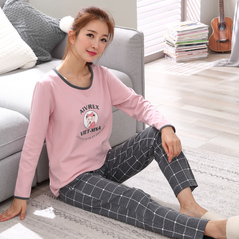 Hot Women   Pajamas     Sets   autumn winter long Sleeve Thick Cartoon Print Cute Sleepwear Girl Pijamas Mujer Leisure Nightgown Women