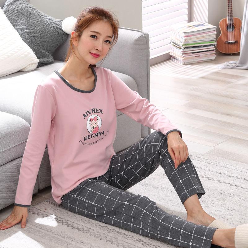Hot Women   Pajamas     Sets   autumn winter long Sleeve Thick Cartoon Print Cute Sleepwear Girl Pijamas Mujer Leisure Nightgown Women