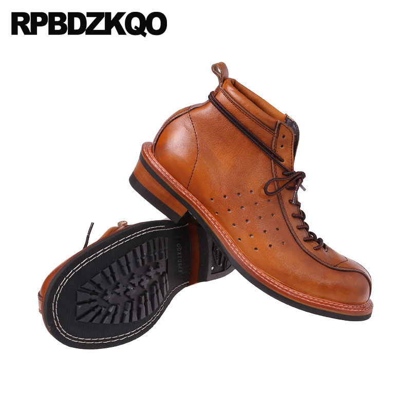 Vintage Genuine Leather Boots Full Grain Ankle Designer Shoes Men High Quality Fall Booties Short Brown Lace Up European 2018