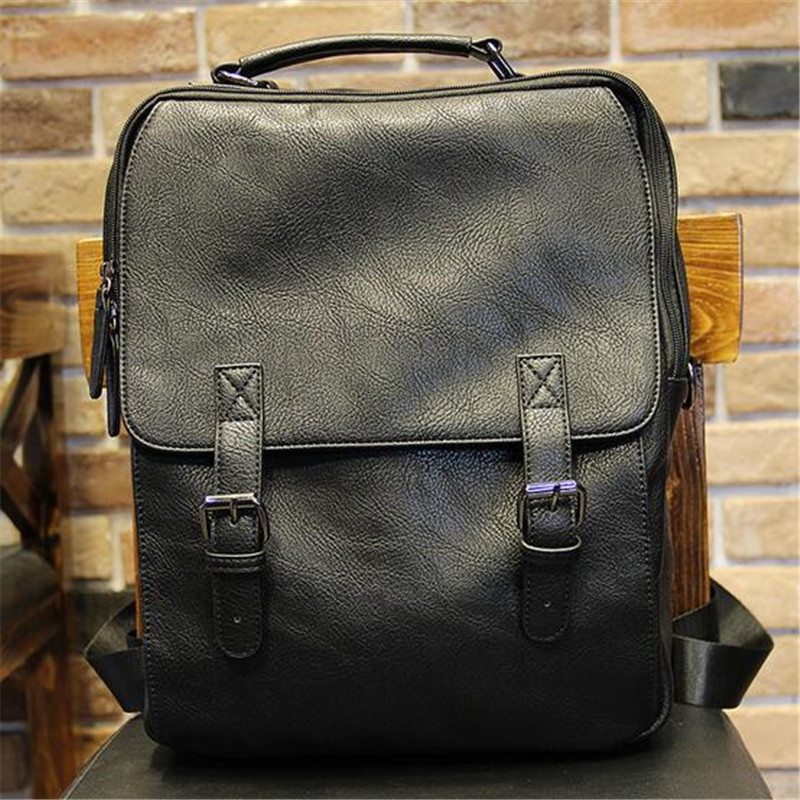 2016 Korean Style Men Backpack Top Quality Leather Double Shoulder Bags School Bag Book Rucksack for Male Travel Tote Bagpack