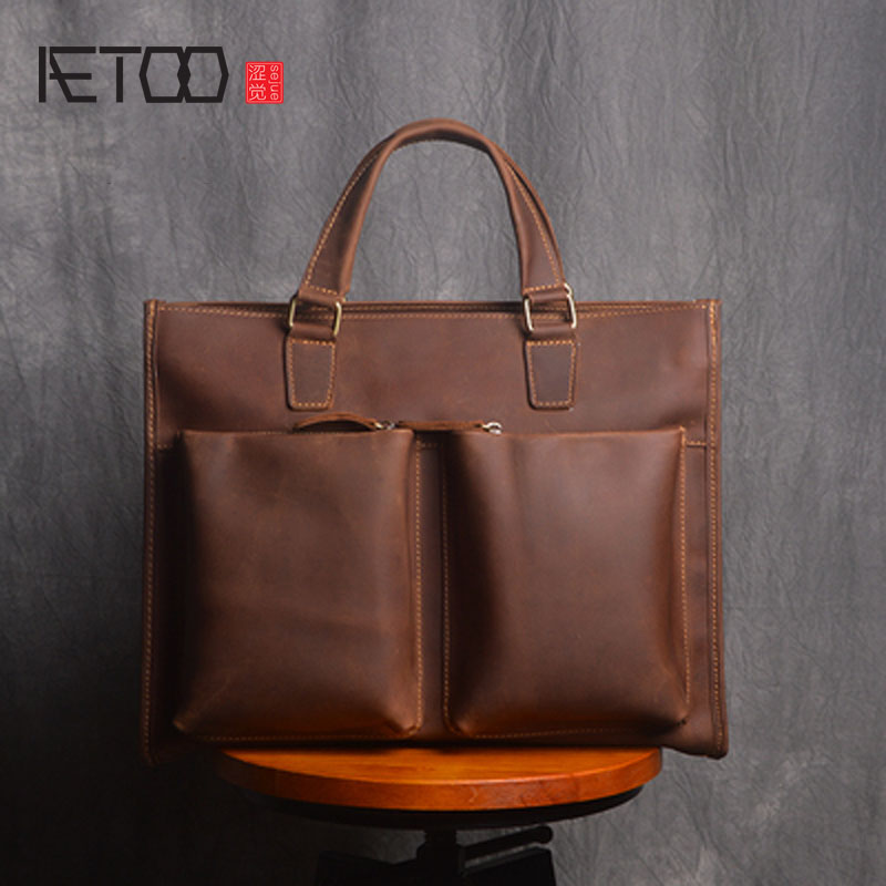 AETOO  The first layer of cowhide retro briefcase 14 inch computer bag crazy horse leather men leather casual shoulder bag messe plain off the shoulder hollow bikini set