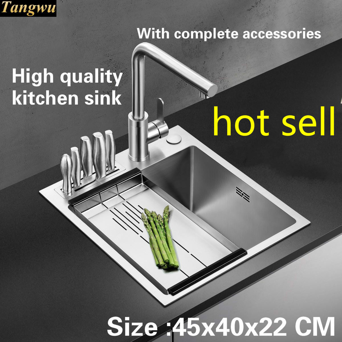 Tangwu Apartment High Quality Food Grade 304 Stainless Steel Kitchen Sink Thick Balcony Small Single Slot Handmade 45x40 CM