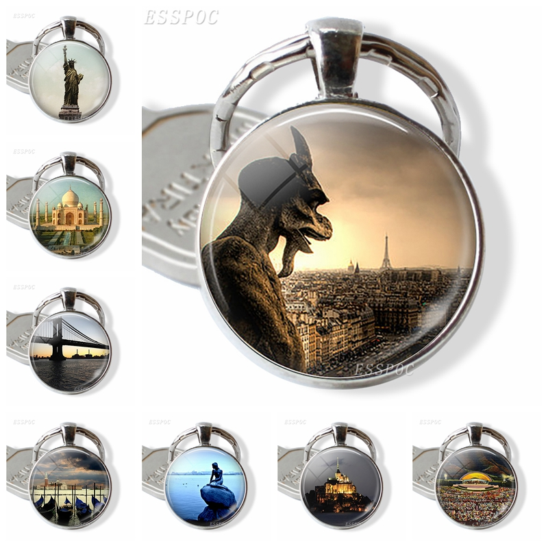 Scenery And Attractions Souvenir Pendant & Keychain Paris Gargoyle Notre Dame New York Statue Of Liberty Brooklyn Bridge Gift