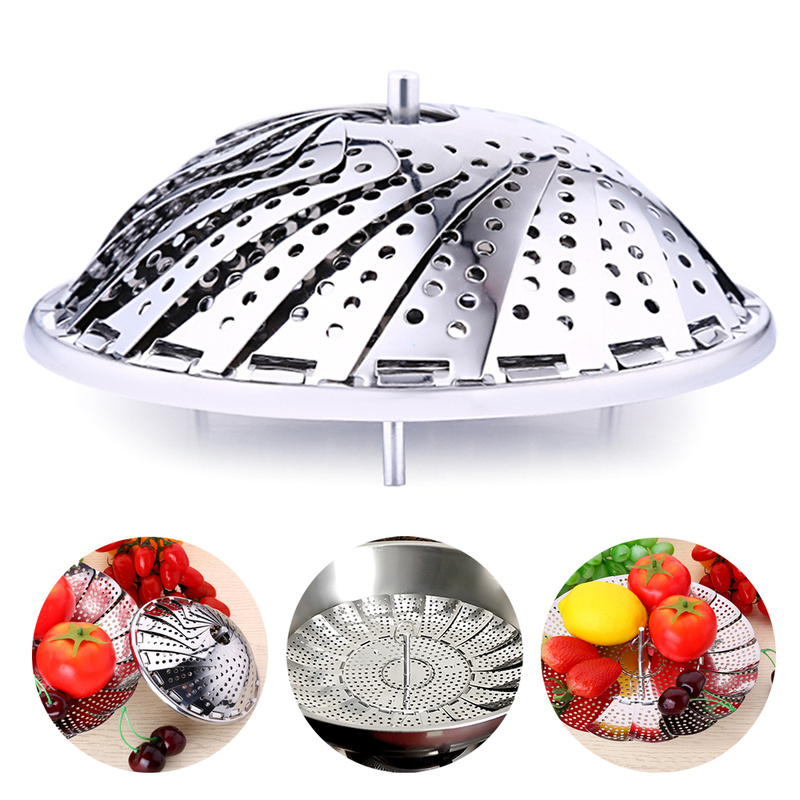 New Stainless Food Steamer Steaming Rack Drawer Kitchen Folding Steamer Bowl Vegetable Fruit Steamer Basket Steamer Kitchen