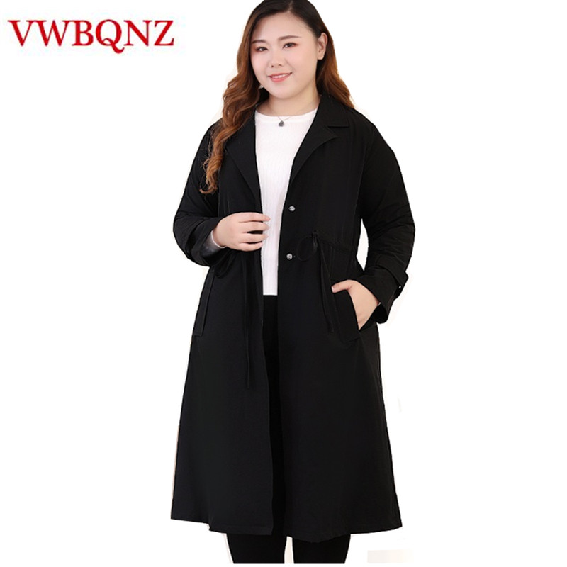 2018 Autumn New Women   Trench   Coat Brand Clothing Plus size Slim Elegant Long Outerwear Black Female Casual Windbreaker Coat 10XL