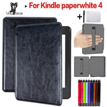 415af7a071a Funda de cuero de PU de lujo para 2018 Amazon Kindle Paperwhite 4 e-lector  funda magnética con soporte de mano + película protectora + Stylus