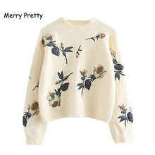 Merry Pretty Coffee Crop Sweater Women Floral Embroidery Pullovers Fall Winter Thick Warm Jumper Female Knitted Cropped Sweaters