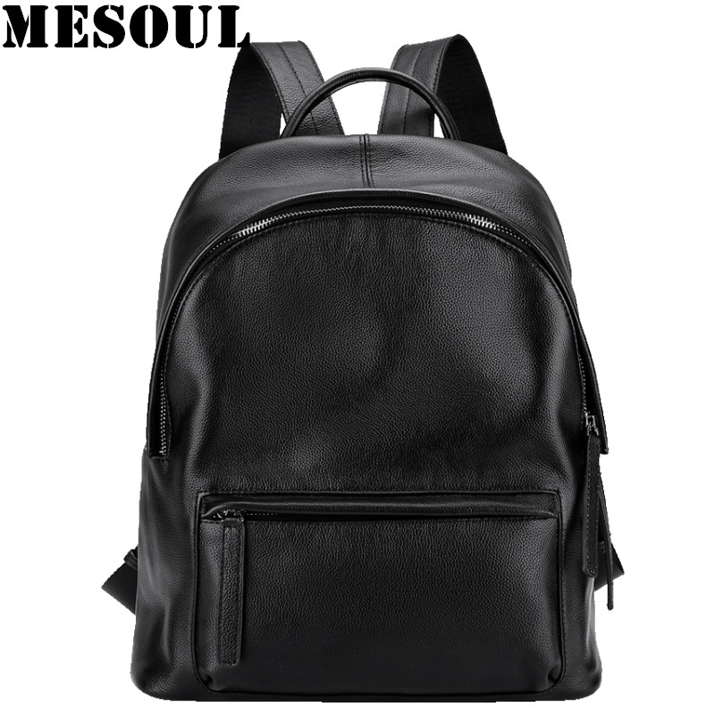 MESOUL Soft Genuine Leather Backpacks For Women Shoulder Travel Bag Female Fashion Casual Black Backpack Teenage Girls Schoolbag korean women backpacks travel package black soft pu leather shoulder bag schoolbags for teenage girls female leisure bag mochila