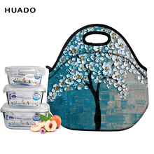 Купить с кэшбэком Neoprene Lunch Bag 3D Printed Unicorn Time Portable for Women Picnic Snack Bag for women/men