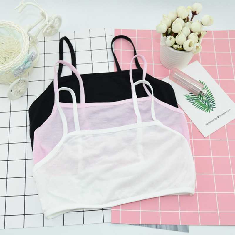 Puberty Teenage Girl Cotton Underwear Student Brassiere Training Bra Solid Color
