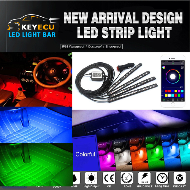 Aliexpress Com Buy Keyecu App Control Multi Color 12led Rgb Car