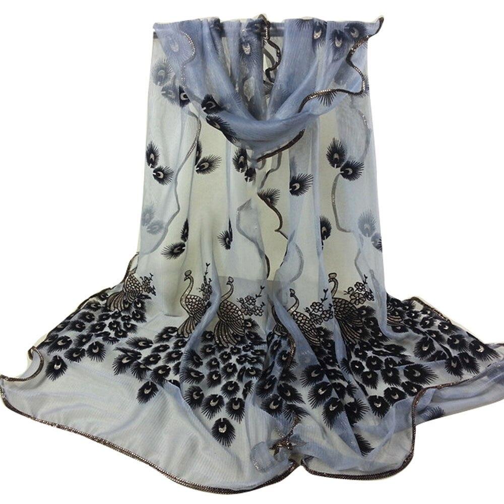 women Amazing Fashion Women's handmade lace peacock   scarves   Chiffon   Scarf   Long Soft   Wrap   Shawl Gift