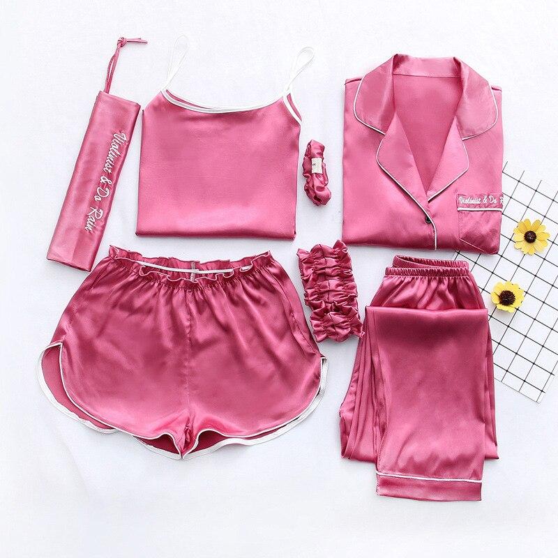 Queenral Women Silk Pajamas 7pcs Sets Pyjamas Set Women Underwear Home Clothes Sexy Pajamas For Women Night Suit Sleepwear  7