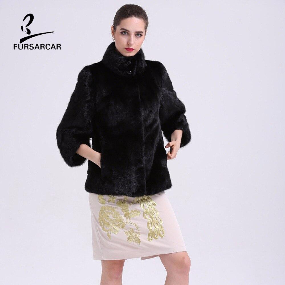 FURSARCAR pravý kožich originální pravá kožušina zimní bunda elegantní dámské oblečení černé plné kůže dámské oblečení s kožešinovým límcem