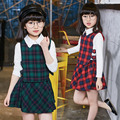 Girl Casual Clothes Set 2 Piece Plaid Dress Long Sleeve Blouse Sets Cute Japanese High School Dress And Tshirt Set For Baby Girl