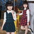Niña Ropa Casual Set 2 Unidades Vestido A Cuadros de Manga Larga Blusa Sets Lindo Japonés de Alta Escuela Vestido Y Camiseta Set Para El Bebé chica