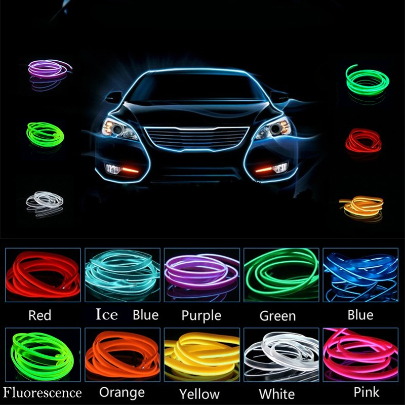 AUTO 2M 12V Car LED Cold light Flexible Neon EL Wire Auto Lamps on ...