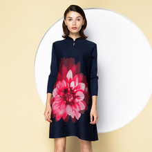 2017 spring chinese style women's tang suit national trend stand collar plate buttons pleated one-piece dress fold dresses