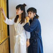Towel Bath Robe Dressing Gown Unisex Men Women Solid Cotton Waffle Sleep Lounge summer Bathrobe Peignoir Nightgowns Lovers Robes