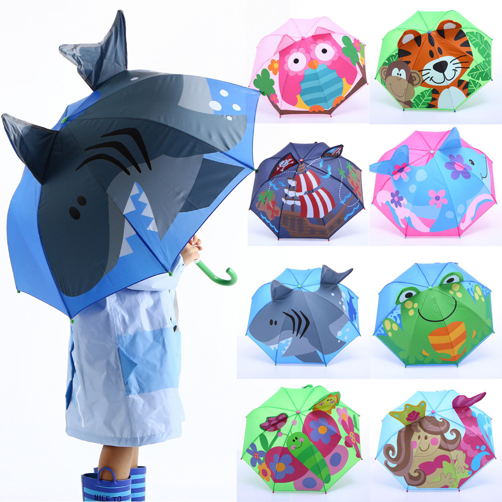 Baby Cover Parasol For Sun Rain Protection UV Rays 3D Cartoon Outdoor Umbrella Wind Resistant Folding Umbrella Rain Windproof-in Umbrellas from Home & Garden