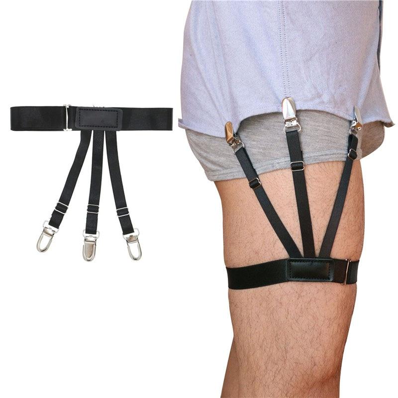 1 Pair Unisex Business Nylon Stays Garters Leg Belt Suspenders Fashion Men Braces For Shirt Holder 1.5cm Tirantes Stirrup
