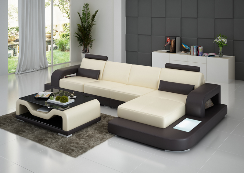7 Seater Wooden Sofa Set Designs Modern Recliner Sectional Fashion Living Room Furniture I Shape ...