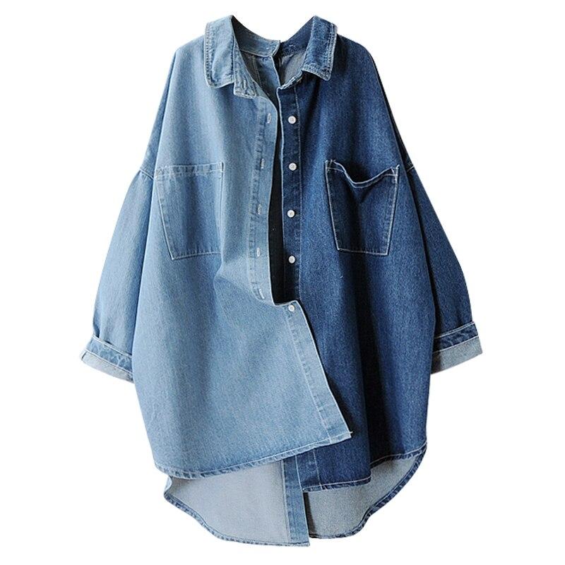 LANMREM 2018 Autumn Single Button Full Batwing Sleeve Color Spliced Pocket Ladies Fashion Denim Jacket MA70505