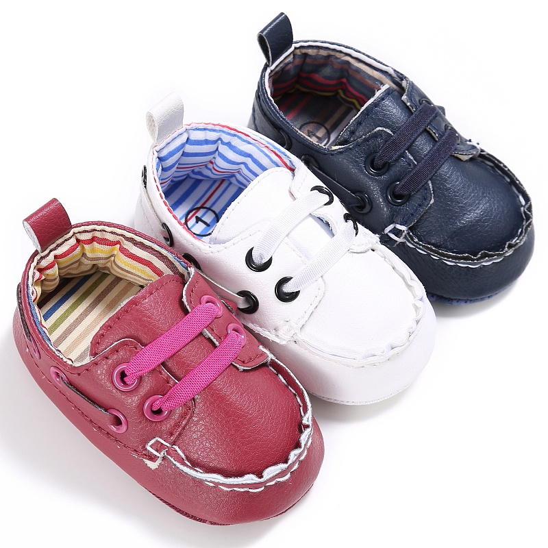 2017 Fashion Classic Leisure PU Leather Shoes Infant Toddler Baby Boy Kid Prewalker Lace-up Shoes Crib Babe Soft Soled Shoe
