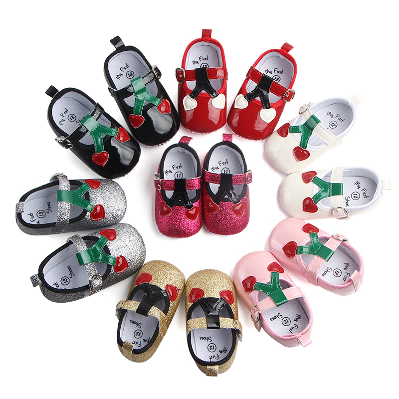 Newborn Princess shoes Pu leather Heart-shaped Cherry Brand First walkers Crib baby Prewalkers soft bottom Cute Baby Shoes