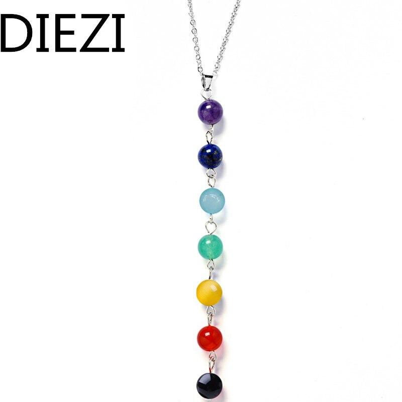 7 Chakra Gem Stone Beads Pendant Necklace Women Yoga Reiki Healing Balancing Maxi Chakra Necklaces Bijoux