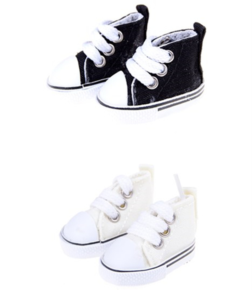1 Pair 5cm Canvas Sneakers For Dolls Paola Reina Minifee,Mini Toy Gym Shoes 1/4 Bjd Doll Sports Shoes Accessories For Dolls Toys