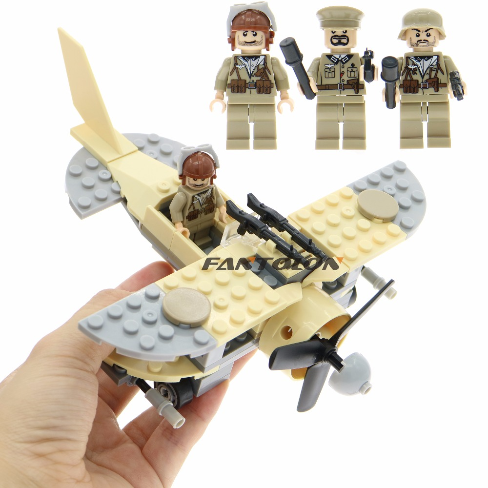 Pogo WW2 UK Fighter Building Blocks With 3 Figures Weapons Guns Army Military Soldiers Aircraft Model Bricks Toys For Children military city police swat team army soldiers with weapons ww2 building blocks toys for children gift