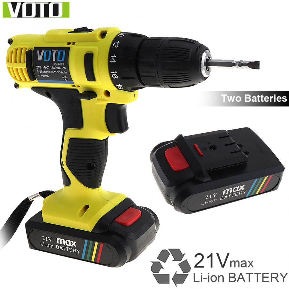 VOTO 21V additional lithium ion Battery Cordless Electric drill hole electrical Screwdriver hand driver Wrench power tools-in Electric Drills from Tools    1