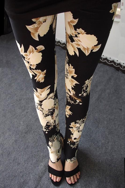 BIVIGAOS Spring Summer Womens Fashion Black Milk Thin Stretch leggings Colored Stars Graffiti Slim Skinny Leggings Pants Female 6