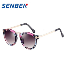 SENBEN 2017 New Big Round Frame Sun Glasses 4 Colors Summer Cat Eye Sunglasses Women Brand Designer oculos de sol