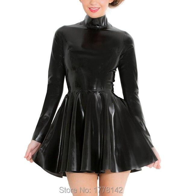 Women's Skater Mini Dress in Black Rubber Latex with High Neck