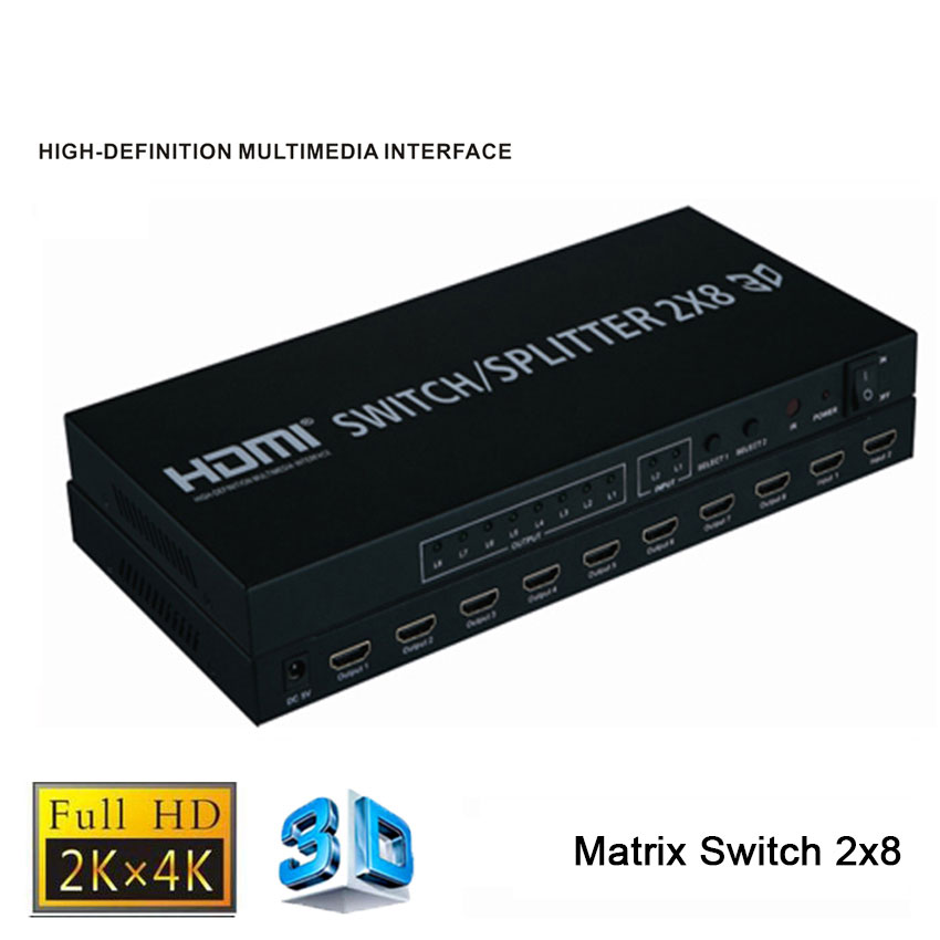 Full HD 1080p 4K 3D 2x8 HDMI Matrix Switch 2 IN 8 OUT HDMI Splitter 3840X2160/30HZ with Remote control For PC PS3 DVD new full 1080p hdmi 4x1 multi viewer with hdmi switcher perfect quad screen real time nov 8 4 into 1 out of screen splitter