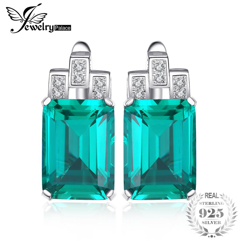 JewelryPalace Stud Earrings Women Luxury 7.6ct Created Emerald 925 Sterling Silver Brand Ear Fashion jewelry Girl FriendsGiftJewelryPalace Stud Earrings Women Luxury 7.6ct Created Emerald 925 Sterling Silver Brand Ear Fashion jewelry Girl FriendsGift