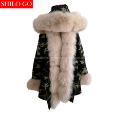 Plus size new camouflage winter jacket women warm outwear thick parkas natural real beige fox fur collar coat hooded pelliccia