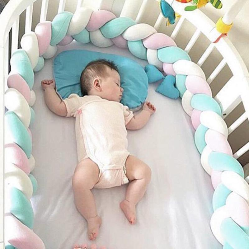 200cm Baby Bed Bumper Newborn Weaving Rope Knot Crib Protector Infant Safety Crashproof Kid Photography Prop Toy Room Decoration